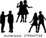 dancing children silhouettes ... | Shutterstock . vector #1799647768