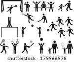 pictogram people in park with... | Shutterstock .eps vector #179966978