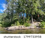 Back Country Camping and Kayaking Area - Rain Lake in Algonquin Park in Summer on a Clear Warm Day - stock photo