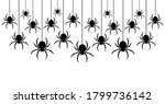 Black Spiders Hanging On A Web. ...