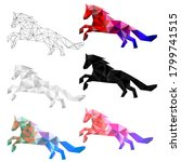set of horse polygon geometric. ... | Shutterstock .eps vector #1799741515