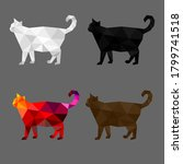 set of cat polygon geometric.... | Shutterstock .eps vector #1799741518