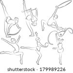 rhythmic gymnastics   outlines | Shutterstock .eps vector #179989226