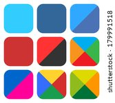 9 blank rounded square icon set....