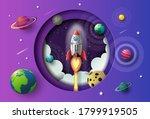 paper art style of rocket... | Shutterstock .eps vector #1799919505