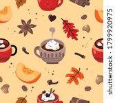 background pumpkin spice latte  ... | Shutterstock .eps vector #1799920975