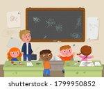 school messy classroom with... | Shutterstock .eps vector #1799950852