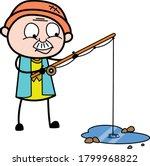 Cartoon Grandpa Fishing Vector...