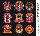 firefighter patches set. badges ... | Shutterstock .eps vector #1799978605