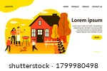 happy family doing barbecue at...   Shutterstock .eps vector #1799980498