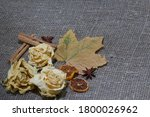 Dried Rosebuds And Maple Leaves ...