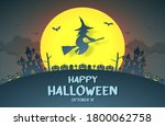 Happy Halloween  Witch Flying...