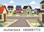 Colorful Houses In Suburb...