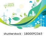 ecology.green cities help the... | Shutterstock .eps vector #1800092365