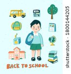 back to school concept in cute...   Shutterstock .eps vector #1800144205