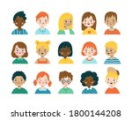 kids portraits set. vector... | Shutterstock .eps vector #1800144208