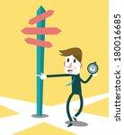 businessman using compass to... | Shutterstock .eps vector #180016685
