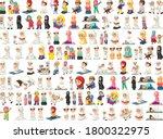 set of muslim kids character... | Shutterstock .eps vector #1800322975
