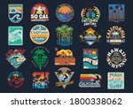 Surf Vector Patch Emblem Set. A ...