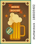 Retro beer house poster. Vector illustration. - stock vector