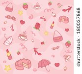 funny girlie pink seamless... | Shutterstock .eps vector #180037868