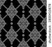 Seamless Black And White Damask ...