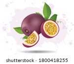 passion fruit and fruit slices... | Shutterstock .eps vector #1800418255