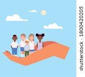 girls and boys cartoons on hand ...   Shutterstock .eps vector #1800420205