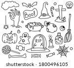 vector set of doodle halloween... | Shutterstock .eps vector #1800496105