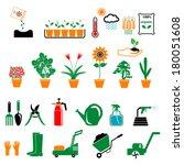 flower and gardening tools... | Shutterstock .eps vector #180051608