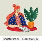 young female sitting at her... | Shutterstock .eps vector #1800550342