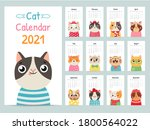 cat calendar. color gift 2021... | Shutterstock .eps vector #1800564022