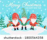 gnomes christmas characters.... | Shutterstock .eps vector #1800564358