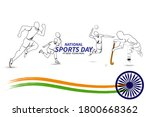 national sports day. vector... | Shutterstock .eps vector #1800668362