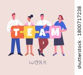 teamwork concept. vector... | Shutterstock .eps vector #1800717238