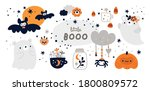 happy halloween collection with ... | Shutterstock .eps vector #1800809572