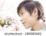 japanese man and cherry blossom | Shutterstock . vector #180085682