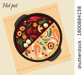 asian hot pot two in one | Shutterstock .eps vector #1800884158