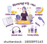 morning self care. woman self... | Shutterstock .eps vector #1800895165