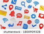 social media icons background... | Shutterstock . vector #1800909328