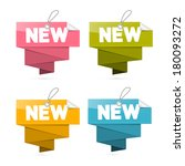 paper new tags set  labels... | Shutterstock .eps vector #180093272