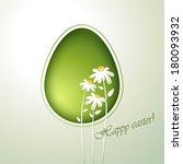 floral green easter egg.    Shutterstock .eps vector #180093932