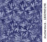 indigo blue flower block print... | Shutterstock . vector #1800985198