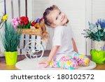 portrait of cute kid girl... | Shutterstock . vector #180102572