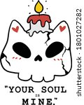 cute skull cat with candle...   Shutterstock .eps vector #1801027282