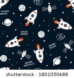 hand drawn space elements... | Shutterstock .eps vector #1801050688