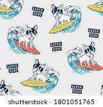 cool dog surfing vector... | Shutterstock .eps vector #1801051765