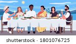 multicultural dinner flat color ... | Shutterstock .eps vector #1801076725