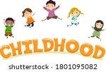 illustration of stickman kids... | Shutterstock .eps vector #1801095082