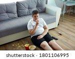 an overweight child boy enjoy... | Shutterstock . vector #1801106995